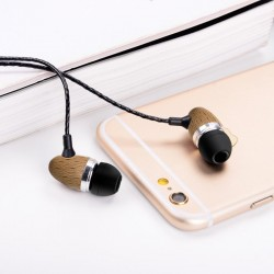 Auriculares 3,5 mm Stereo com Micro Madeira Natural Auriculares