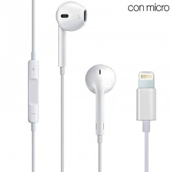 Auriculares Brancos Stereo com Micro iPHONE 7 / 8 / X (Lightning) Auriculares