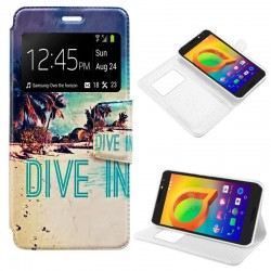 Capa Flip Cover Alcatel A3 Design Beach Galaxy A3