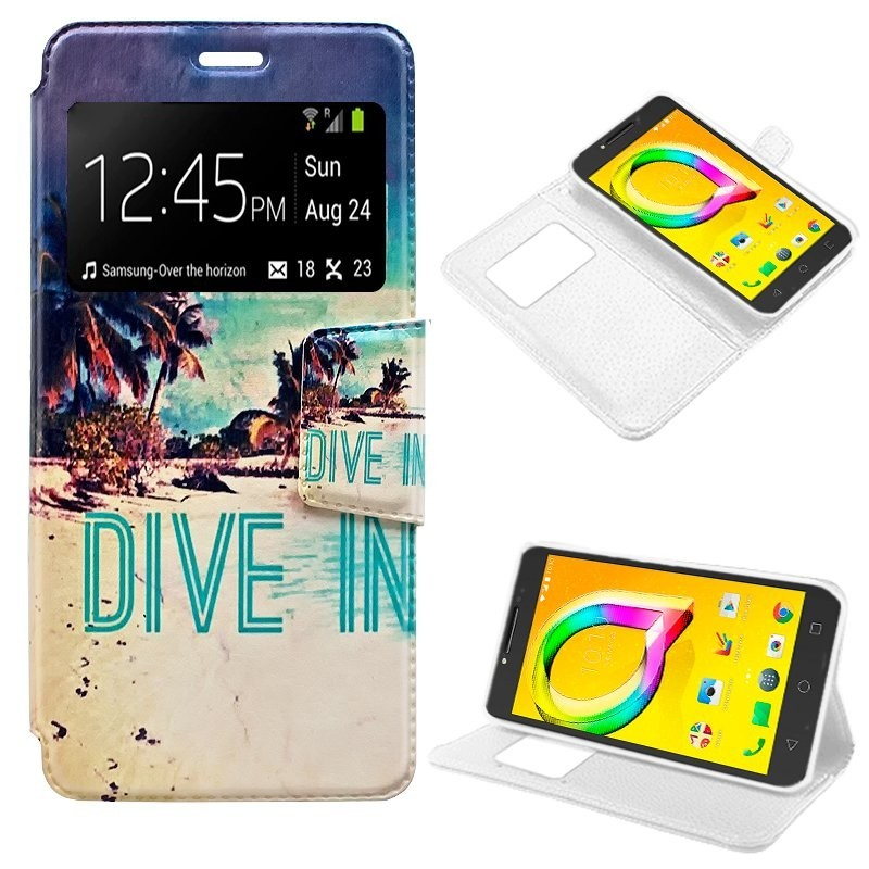Capa Flip Cover Alcatel A5 Led Design Beach A5 LED