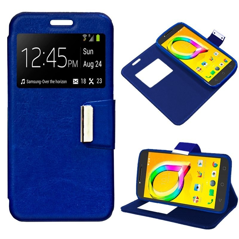 Capa Flip Cover Alcatel A5 Led Liso Azul A5 LED