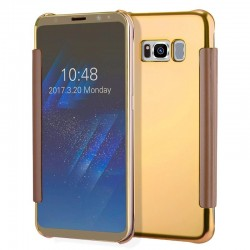 Capa Flip Cover Samsung G955 Galaxy S8 Plus Clear View Dourado Galaxy S8 Plus