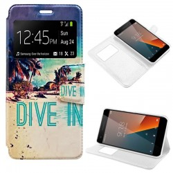 Capa Flip Cover Vodafone Smart V8 Design Beach Smart V8