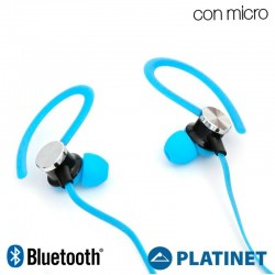 Capa Neopreno Running + Auriculares Universal Platinet Bluetooth Stereo Azul Auriculares