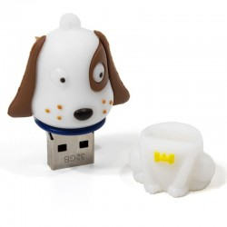 Pen Drive USB x32 GB Silicone Cão Branco Pen Drives