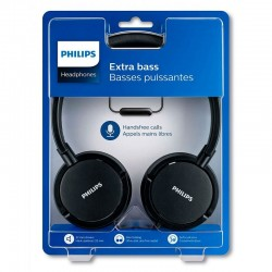 Auriculares Philips Extra Bass (Cable Jack 3.5 mm) Preto Auriculares