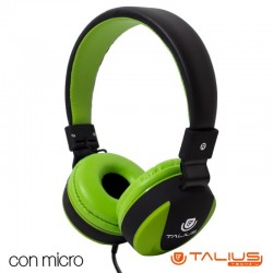 Auriculares HP5005 Talius (Cable Jack 3.5 mm) Verde-Preto Auriculares