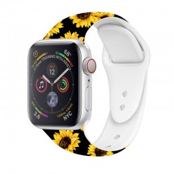 Bracelete Apple Watch Series 1 / 2 / 3 / 4 / 5 (38 / 40 mm) Estampado Girassóis Apple Watch